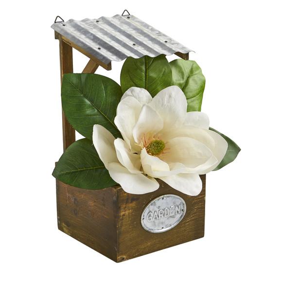 14 Magnolia Artificial Arrangement in Tin Roof Planter - SKU #A1084 - 2