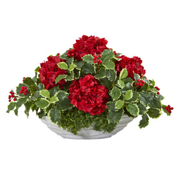 Hydrangea and Holly Leaf Artificial Arrangement in Decorative Vase - SKU #A1085