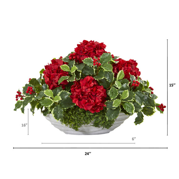 Hydrangea and Holly Leaf Artificial Arrangement in Decorative Vase - SKU #A1085 - 1