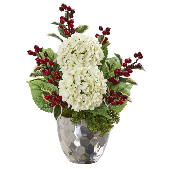 19 Hydrangea and Holly Berry Artificial Arrangement in Silver Bowl - SKU #A1086