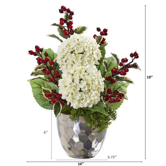 19 Hydrangea and Holly Berry Artificial Arrangement in Silver Bowl - SKU #A1086 - 1