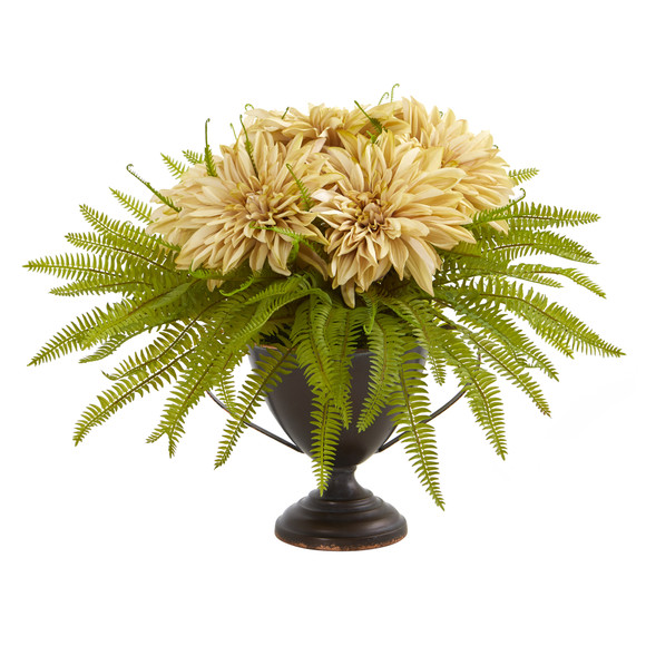 Dahlia and Fern Artificial Arrangement in Metal Goblet - SKU #A1087 - 2