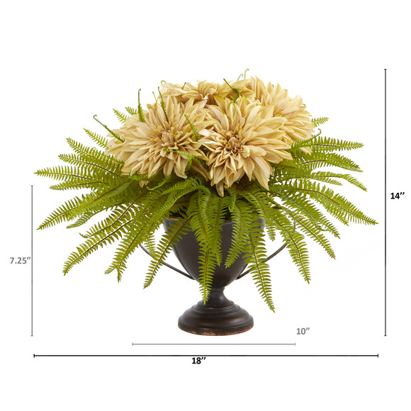 Dahlia and Fern Artificial Arrangement in Metal Goblet - SKU #A1087 - 3