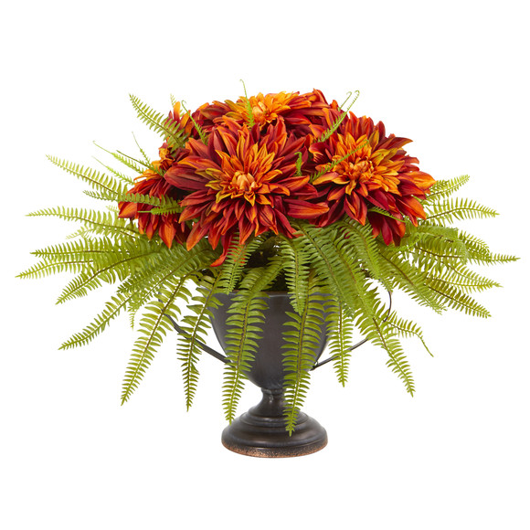 Dahlia and Fern Artificial Arrangement in Metal Goblet - SKU #A1087 - 4
