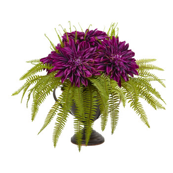 Dahlia and Fern Artificial Arrangement in Metal Goblet - SKU #A1087