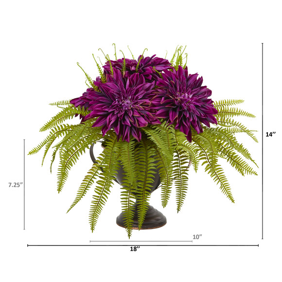 Dahlia and Fern Artificial Arrangement in Metal Goblet - SKU #A1087 - 1