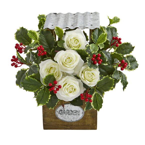 14 Rose and Variegated Holly Leaf Artificial Arrangement in Tin Roof Planter - SKU #A1088