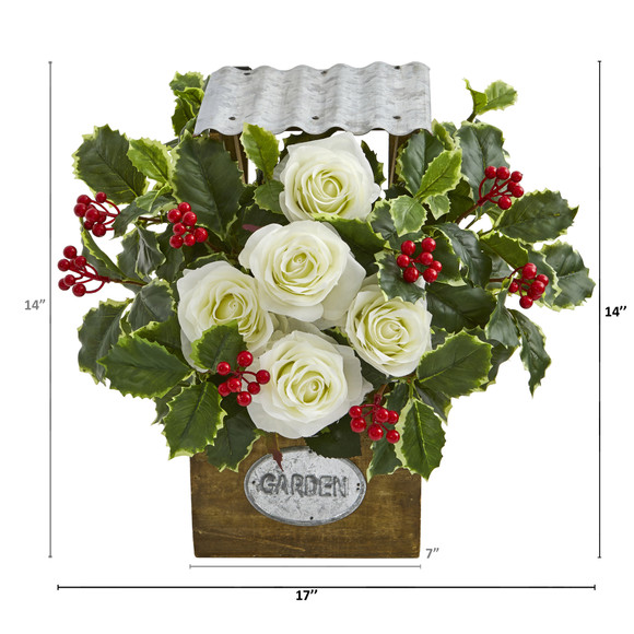 14 Rose and Variegated Holly Leaf Artificial Arrangement in Tin Roof Planter - SKU #A1088 - 1