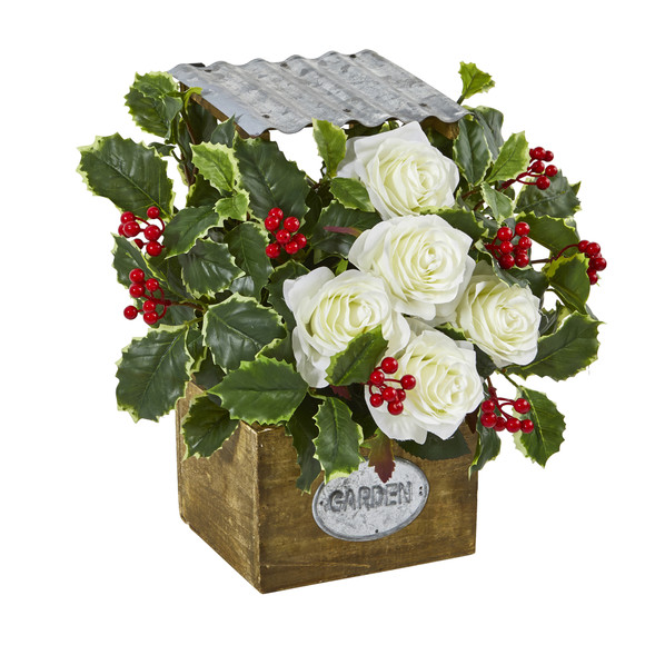 14 Rose and Variegated Holly Leaf Artificial Arrangement in Tin Roof Planter - SKU #A1088 - 2
