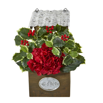 14 Hydrangea and Holly Leaf Artificial Arrangement in Tin Roof Planter - SKU #A1089
