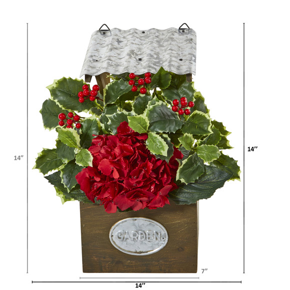 14 Hydrangea and Holly Leaf Artificial Arrangement in Tin Roof Planter - SKU #A1089 - 1