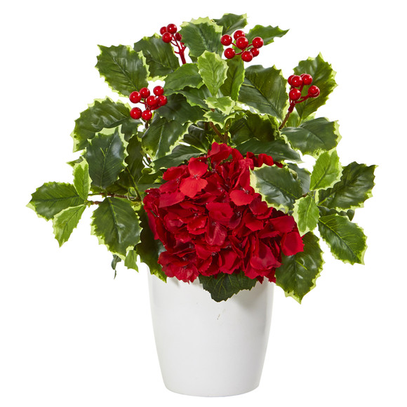 14 Hydrangea and Holly Leaf Artificial Arrangement in White Vase - SKU #A1090
