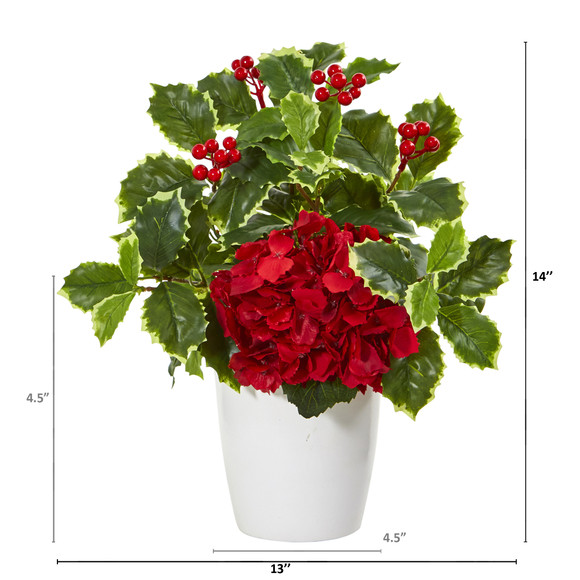 14 Hydrangea and Holly Leaf Artificial Arrangement in White Vase - SKU #A1090 - 1