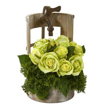 Rose Artificial Arrangement in Faucet Planter - SKU #A1091-GR