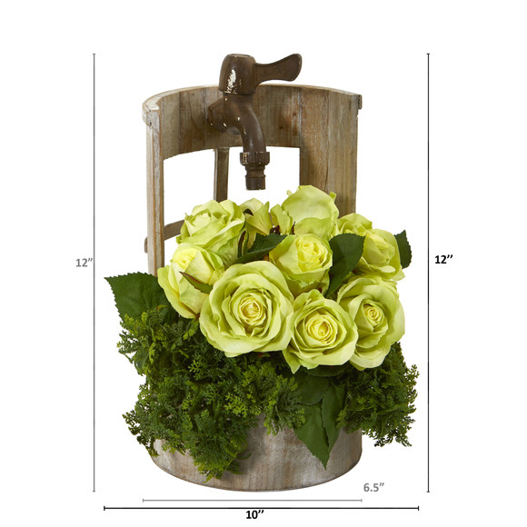 Rose Artificial Arrangement in Faucet Planter - SKU #A1091 - 5