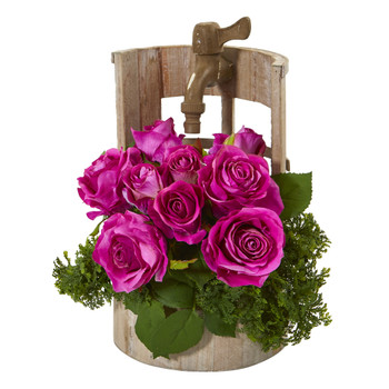 Rose Artificial Arrangement in Faucet Planter - SKU #A1091