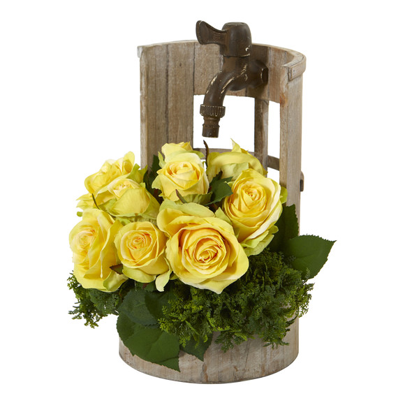 Rose Artificial Arrangement in Faucet Planter - SKU #A1091 - 2