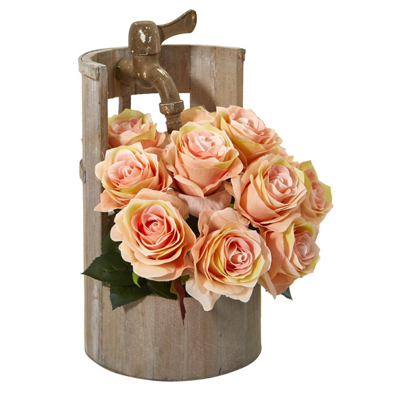 12 Rose Artificial Arrangement in Planter with Faucet - SKU #A1092-PH