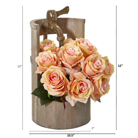 12 Rose Artificial Arrangement in Planter with Faucet - SKU #A1092-PH - 1