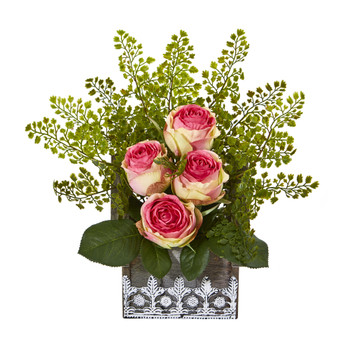 13 Rose and Maiden Hair Artificial Arrangement in Hanging Floral Design House Planter - SKU #A1093-FS