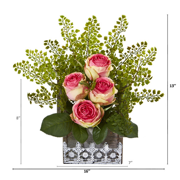 13 Rose and Maiden Hair Artificial Arrangement in Hanging Floral Design House Planter - SKU #A1093 - 1