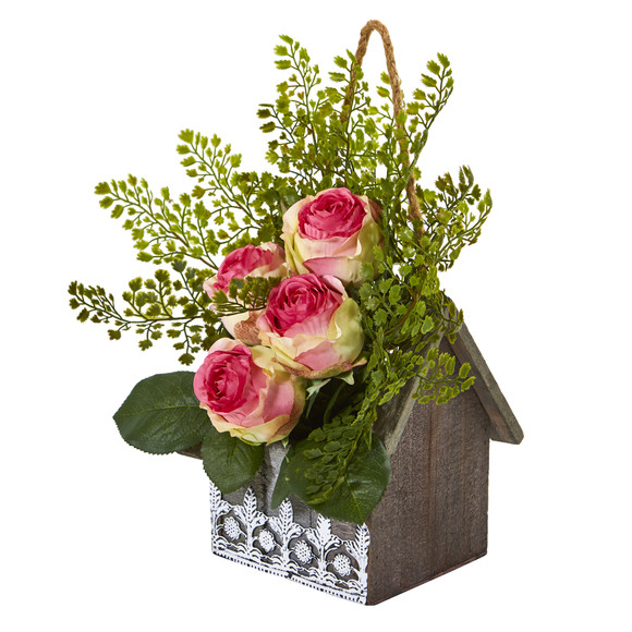 13 Rose and Maiden Hair Artificial Arrangement in Hanging Floral Design House Planter - SKU #A1093 - 2