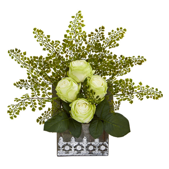 13 Rose and Maiden Hair Artificial Arrangement in Hanging Floral Design House Planter - SKU #A1093 - 3