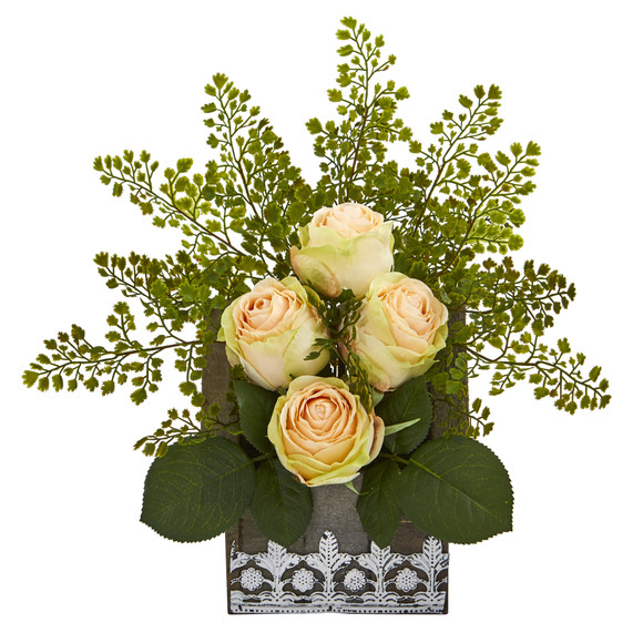 13 Rose and Maiden Hair Artificial Arrangement in Hanging Floral Design House Planter - SKU #A1093 - 6
