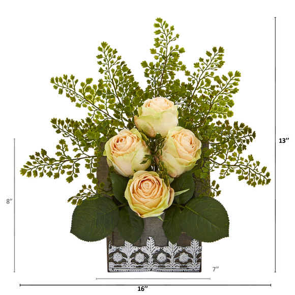 13 Rose and Maiden Hair Artificial Arrangement in Hanging Floral Design House Planter - SKU #A1093 - 7