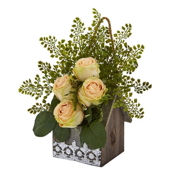 13 Rose and Maiden Hair Artificial Arrangement in Hanging Floral Design House Planter - SKU #A1093 - 5