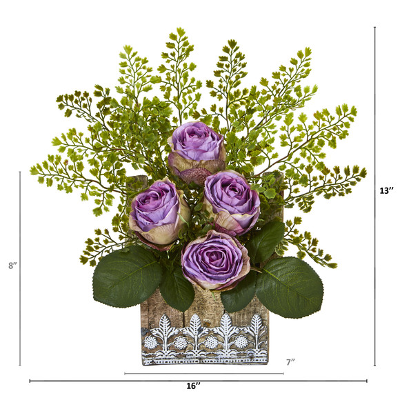 13 Rose and Maiden Hair Artificial Arrangement in Hanging Floral Design House Planter - SKU #A1093 - 4