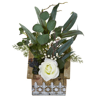 16 Rose and Eucalyptus Artificial Arrangement in Hanging Floral Design House Planter - SKU #A1094