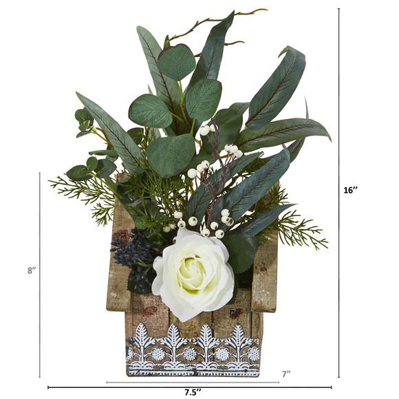 16 Rose and Eucalyptus Artificial Arrangement in Hanging Floral Design House Planter - SKU #A1094 - 1