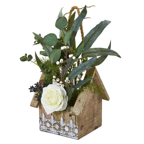 16 Rose and Eucalyptus Artificial Arrangement in Hanging Floral Design House Planter - SKU #A1094 - 2
