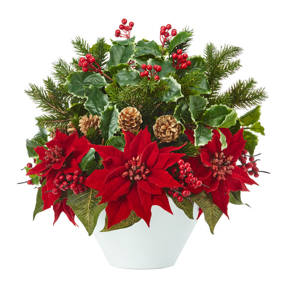 18 Poinsettia Holly Leaf and Pine Artificial Arrangement in White Vase - SKU #A1095