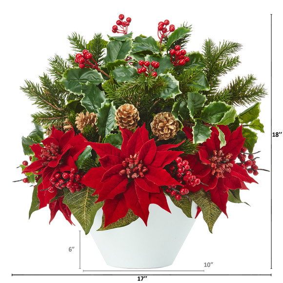 18 Poinsettia Holly Leaf and Pine Artificial Arrangement in White Vase - SKU #A1095 - 1