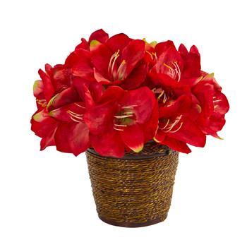 Amaryllis Artificial Arrangement in Basket - SKU #A1096