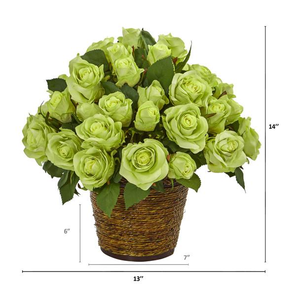 Rose Artificial Arrangement in Basket - SKU #A1098 - 5