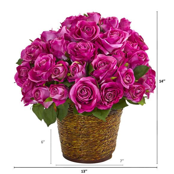 Rose Artificial Arrangement in Basket - SKU #A1098 - 1