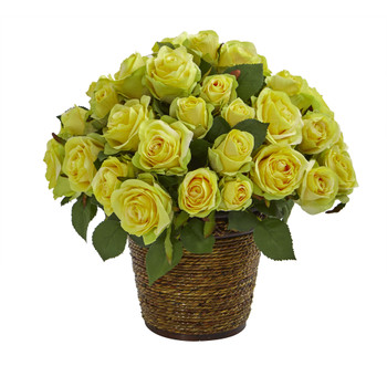 Rose Artificial Arrangement in Basket - SKU #A1098