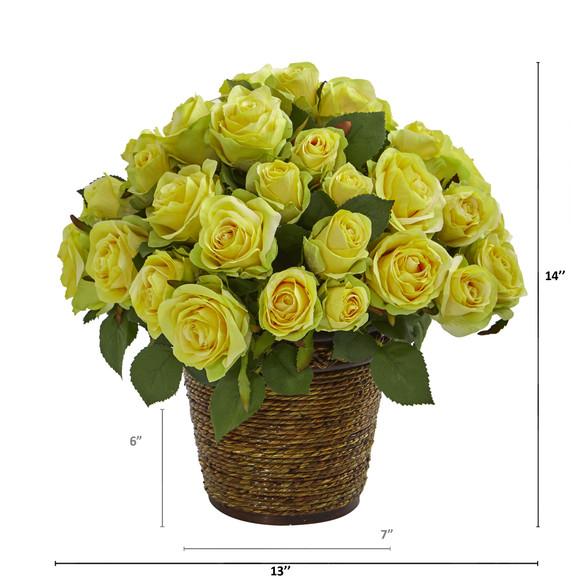 Rose Artificial Arrangement in Basket - SKU #A1098 - 3