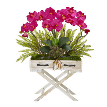26 Phalaenopsis Orchid Fern and Succulent Artificial Arrangement in Drawer Planter - SKU #A1099