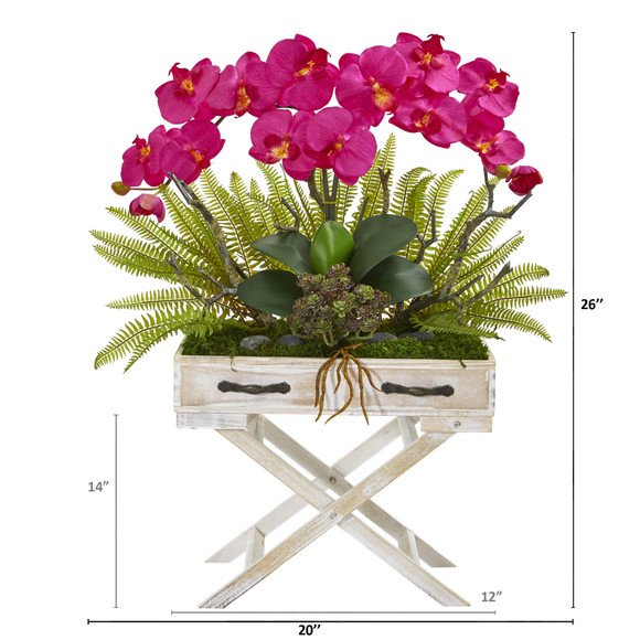 26 Phalaenopsis Orchid Fern and Succulent Artificial Arrangement in Drawer Planter - SKU #A1099 - 1