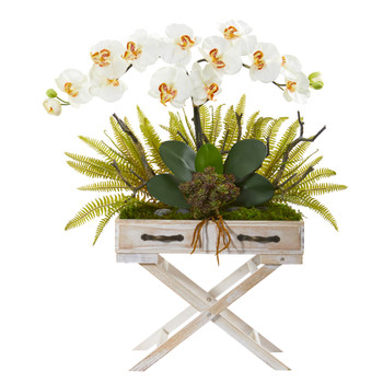 26 Phalaenopsis Orchid Fern and Succulent Artificial Arrangement in Drawer Planter - SKU #A1099-CR