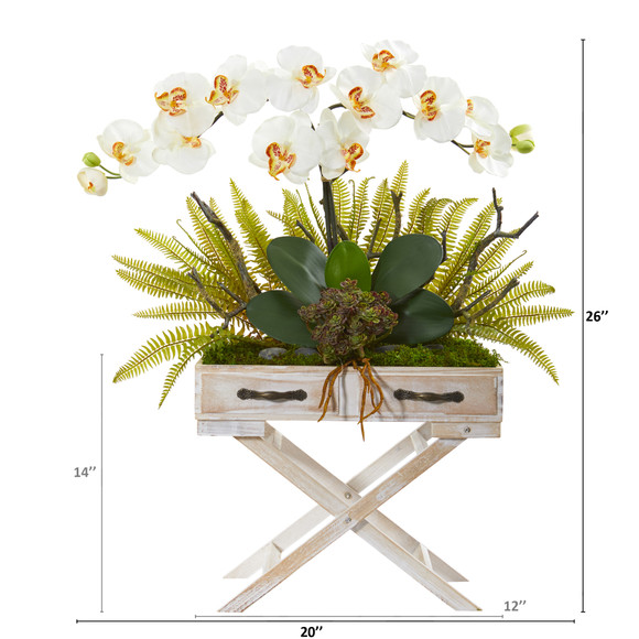 26 Phalaenopsis Orchid Fern and Succulent Artificial Arrangement in Drawer Planter - SKU #A1099 - 7