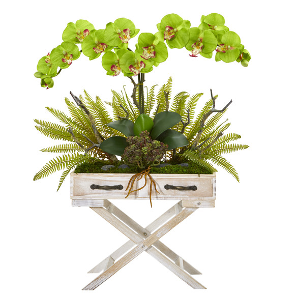 26 Phalaenopsis Orchid Fern and Succulent Artificial Arrangement in Drawer Planter - SKU #A1099 - 8