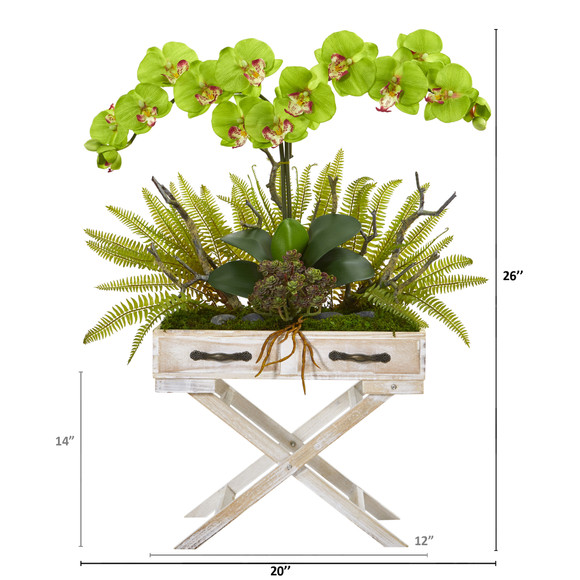 26 Phalaenopsis Orchid Fern and Succulent Artificial Arrangement in Drawer Planter - SKU #A1099 - 9