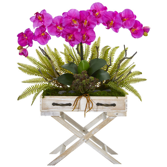 26 Phalaenopsis Orchid Fern and Succulent Artificial Arrangement in Drawer Planter - SKU #A1099 - 2