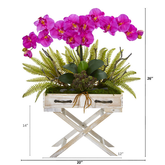 26 Phalaenopsis Orchid Fern and Succulent Artificial Arrangement in Drawer Planter - SKU #A1099 - 3