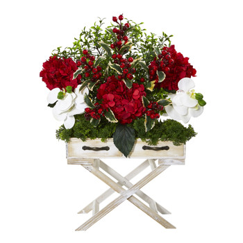 26 Hydrangea Phalaenopsis Orchid and Holly Berry Artificial Arrangement in Drawer Planter - SKU #A1100